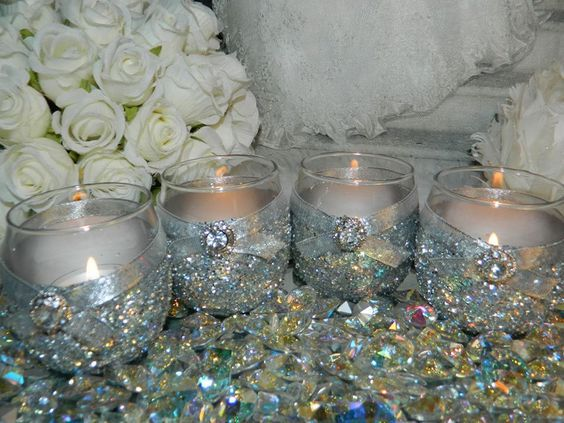 6 Candle Holders, Silver, Wedding, Great Gatsby Wedding, 25th Wedding Anniversary, Glitter, Bridal Shower, Quinceaner, Candles, Deco Wedding by SparkleAndTwinkleCo on Etsy