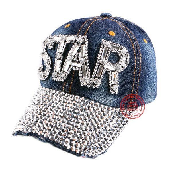 wholesale women girl outdoor casaul sports cap novelty STAR letter bling rhinestone beads denim snapback cap hat baseball caps