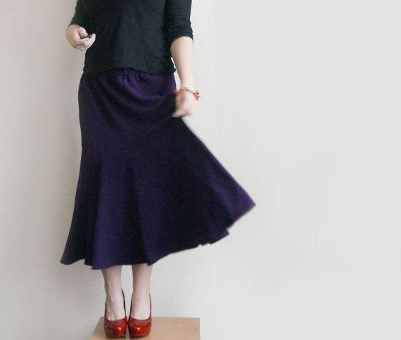 SALE Vintage full circle purple skirt large womens tulip di plot, $18.70