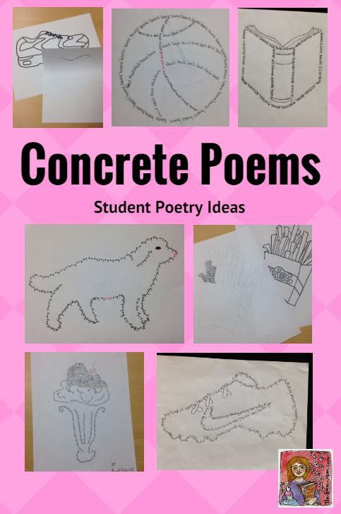 Students love concrete poems or shape poems, easy poetry writing activity for grades 3-6