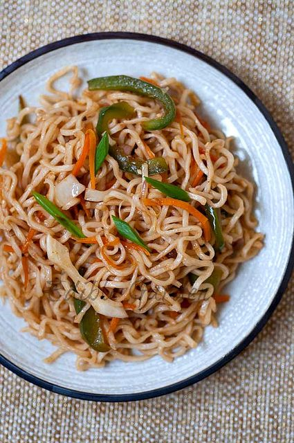 Indian Chinese Vegetable Noodles  delicious all vegetarian dish but you can add tofu or chicken