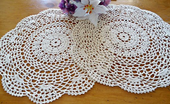 For your consideration are 2 lovely vintage crocheted ecru doilies. Both doilies have the same pattern.  Measurements: SEE PHOTOS. They are made out of cotton.  They are in good condition. Rating: 2-2 ^^^^^^^^^^^^^^^^^^^^^^^^^^^^^^^^^^^^^^^^^^^^^^^^^^^^^^^^^^^^^^^^^^^^^^^^^^^^^^^^^^^^^^^^^^^^^^^^^^^^^^^^^ All items are in vintage gently used clean condition.  2-2 Excellent - As good as it gets, not used very much and well cared for. 1-2 Pretty Good - very light wear, there may be a tiny…