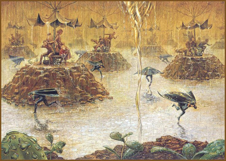 Otto Frello, fantasy, painting, rain, art