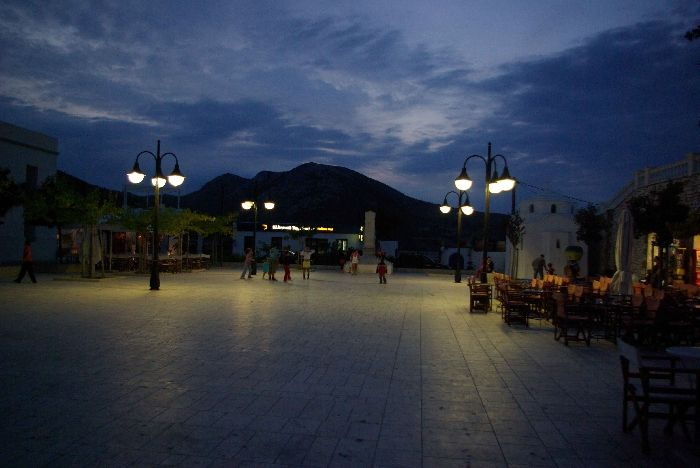 Main square of Chora at night, Skyros island