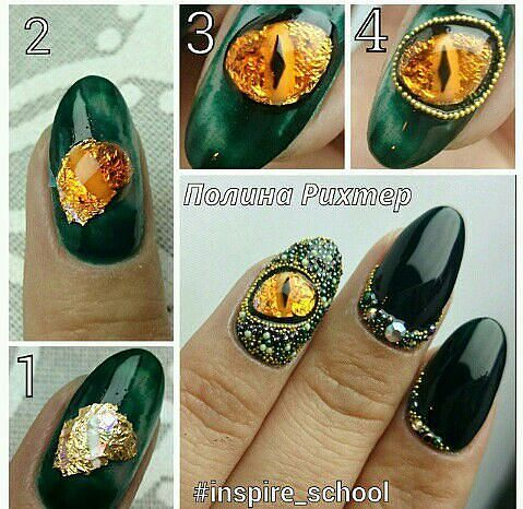 Nail Art step by step | Drachen nägel, Nageldesign ...