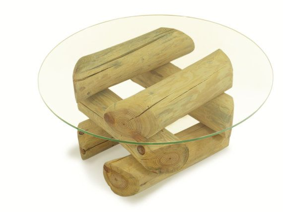 ECO FURNITURE, log coffee table, glass top table, tree table, round pile–style solid wood, Öko Möbel, so simple style Tisch, Couchtisch