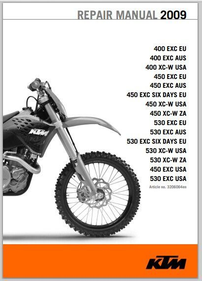 2009 KTM 400 EXC, 400 EXC, 400 XC-W, 450 EXC, 450 EXC, 450 EXC SIX DAYS…