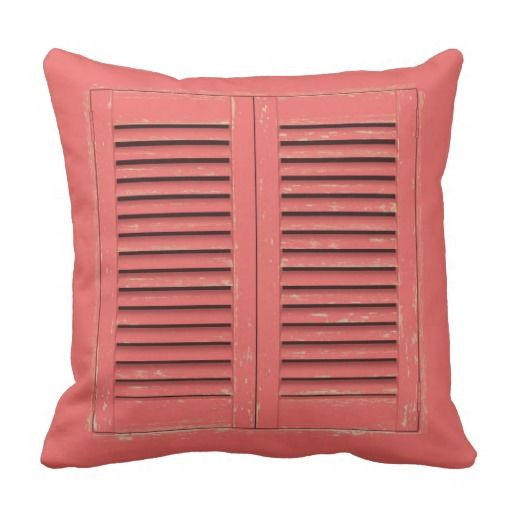 Old red window shutters square pillow