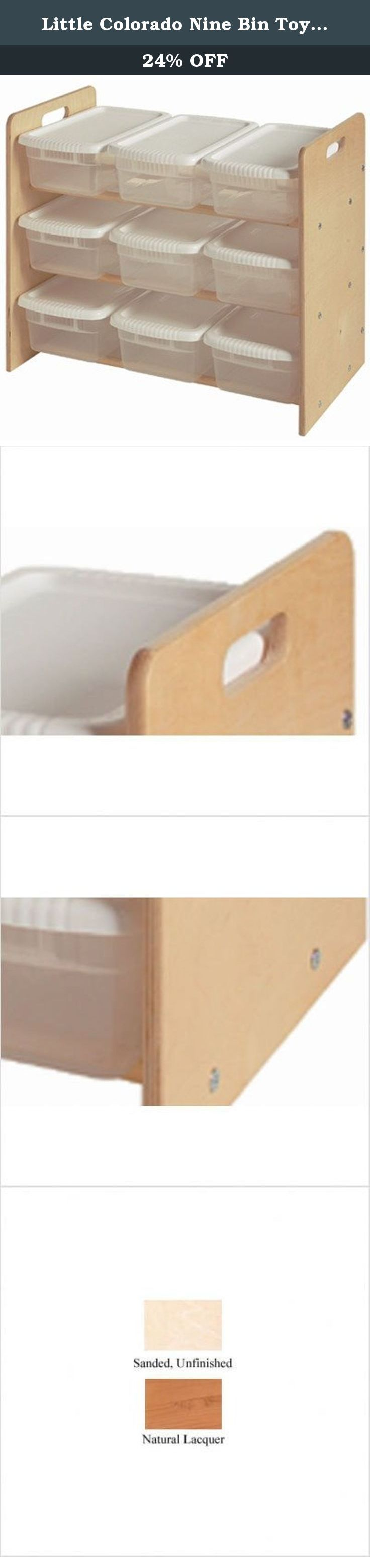 Little Colorado Nine Bin Toy Organizer, Unfinished. This economical unit features a total of nine see-through bins. It is made from baltic birch plywood and birch dowels for added strength and stability.