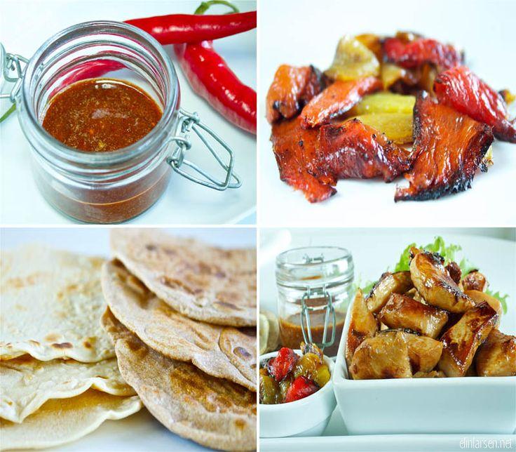 Hjemmelaget wraps med marinert kylling, bbq saus og grillet paprika