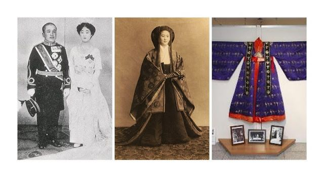 Three cultures in Crown Princess Uimin's life. At the right her Korean wedding dress.
