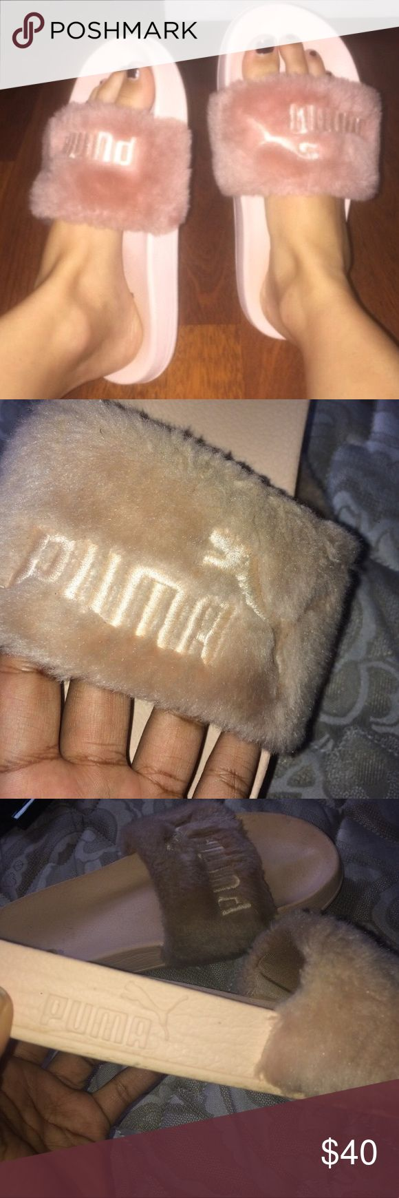PINK FENTY PUMA SLIDES  BY RIHANNA Couldn't bring my self to sale these I love them so much, being why they are posted so much in my closet but now I've decided to finally let them go  super cute and super comfy slides, wording had faded on one of the slippers, they are a little dirty but can be cleaned ❤️ Puma Shoes Slippers
