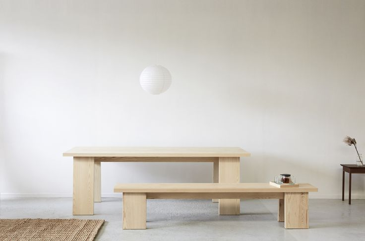 GME table and bench. american ash. James East Design