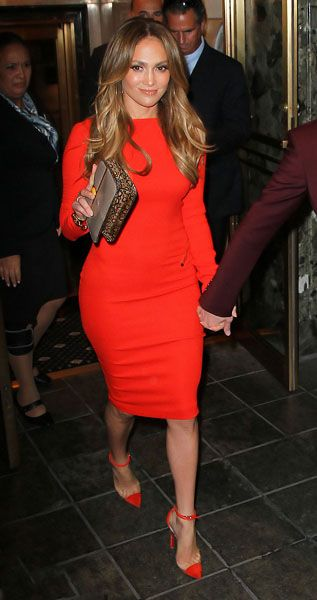 Jennifer Lopez wearing a Tom Ford dress and Christian Louboutin pumps in NYC.
