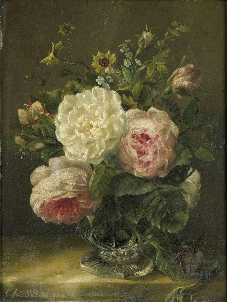 Stilleven met bloemen in een kristallen vaas, Gerardina Jacoba van de Sande Bakhuyzen, 1850 - 1880
