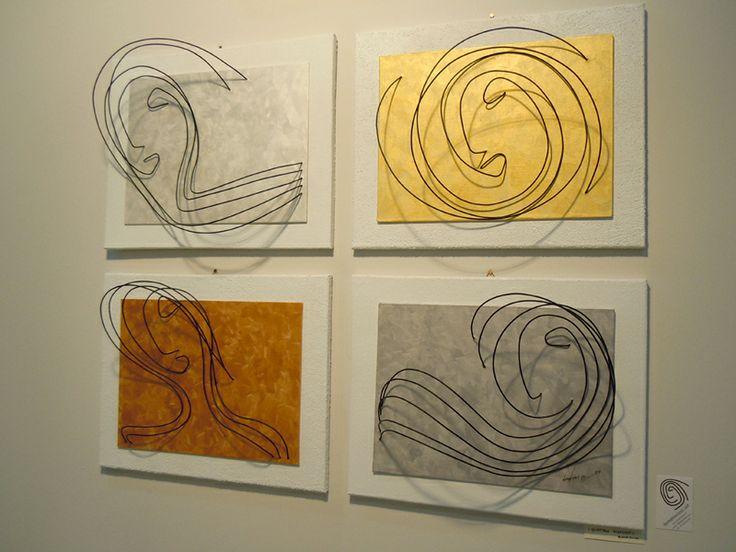 Wire sculpture by Demetrio Rizzo: I quattro elementi - 2011 - wire & canvas - Size:110x90x20cm