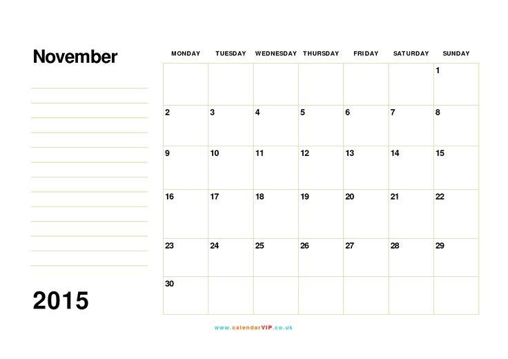 56 Best November 2015 Calendar Images On Pinterest Printable