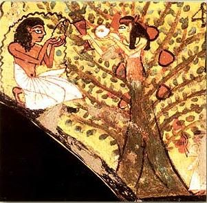 The Lady offers fruit and water from the Tree of Life