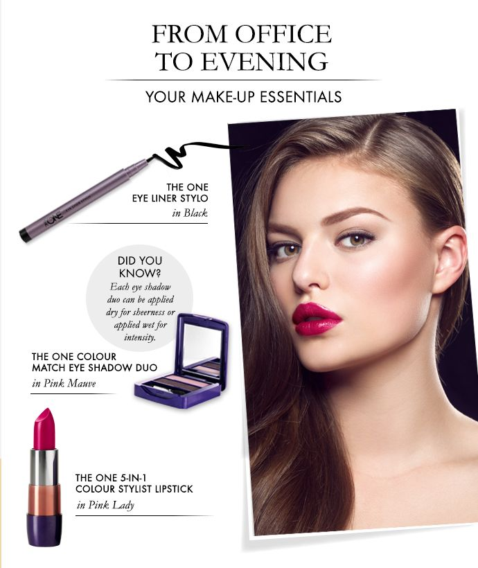 Leaving the office, only to go straight out for the evening? Keep these make-up essentials from The ONE in your handbag to instantly help transform your daytime look into an elegant evening one.