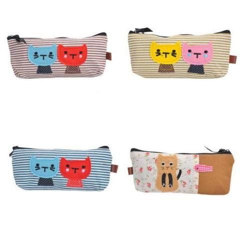 4pcs Girls Kid Stationery Pencil Bag Canvas Organzier Case Cute Cat Pouch 20x8cm