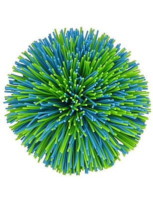 """Koosh Ball ~ In the late 1980s, engineer Scott Stillinger was teaching his kids to catch when that advantageous """"A-ha!"""" moment struck. The idea? A ball made out of rubber fibers that were easily grabbed by tiny fingers. (An early prototype featured a mass of rubber bands tied together.) Stillinger named his soft creation """"Koosh"""" because of the sound it made when it landed in his hand; he went on to sell them in a rainbow of colors and various sizes."""