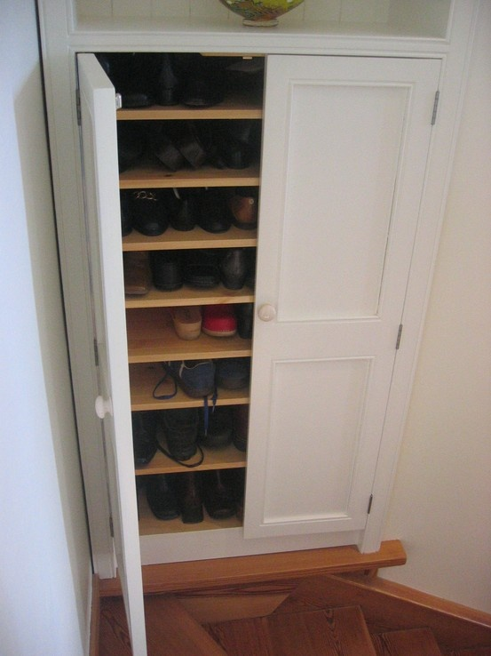 Stairwell Alcove Transformed Into A Storage Unit For Shoes  Www.linehansdesign.com Https: