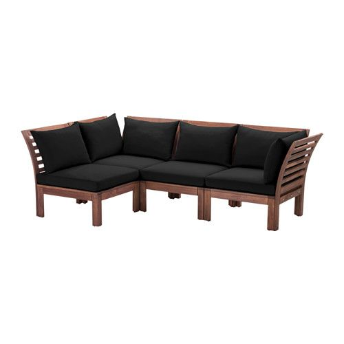 ÄPPLARÖ / HÅLLÖ 4-seat sectional, outdoor, brown stained, black brown stained/black