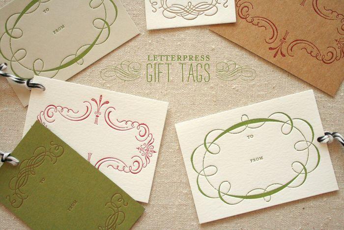 letterpress gift tags