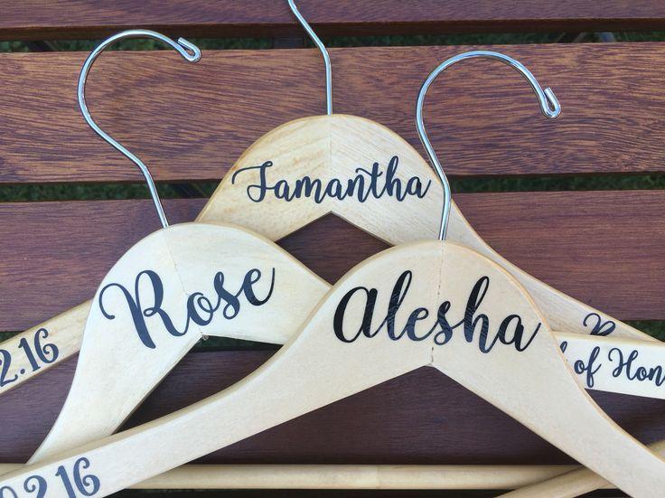 Personalized Vinyl Wedding Dress Hanger Wood Party Gift Photo Prop Bridesmaid Bridal Mrs