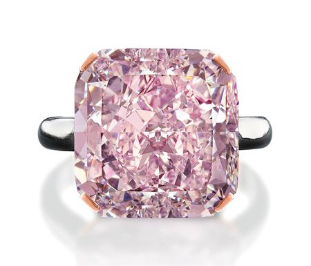 The radiant-cut diamond, graded a fancy light purplish-pink, is set in a classic platinum solitaire with rose gold prongs. The rough diamond, which was found in South Africa, weighed 21.35 carats and took 3.5 months to cut. Pink diamonds of its size are exceptionally rare--Christie's states that only 18 pinks over 10 carats have passed through the auction house since its founding 244 years ago.