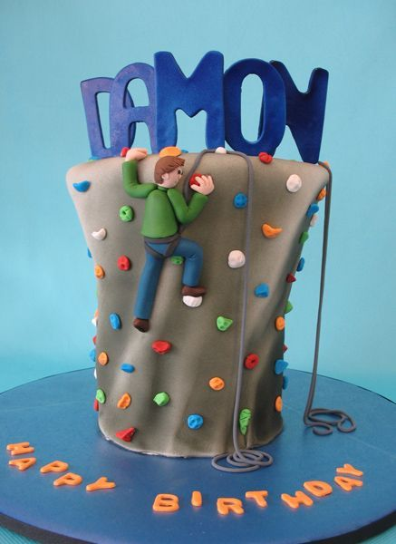 Rock climbing cake - Birthday party at a rock climbing gym.