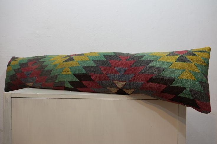 115$ kilim pillow,12''x52'' bohemian bedding,king bedding,handmade kilim pillow,lumbar,