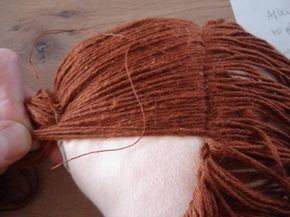 Part 1: how to sew girls hair : pigtails I want to show you how I make doll's hair out of knitting yarn. First you need to draw a line on your doll's head, starting from her forehead al…