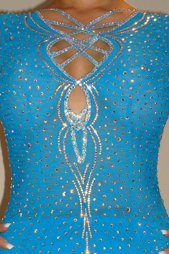 Beautiful Turquoise Maria McGill Latin Rhythm Costume For Sale, Dance Costumes For Sale, Dance Gowns for sale