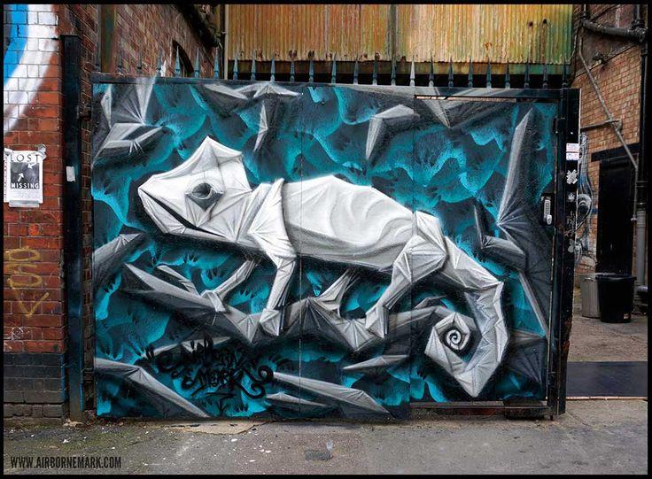 ORIGAMI CHAMELEON BY AIRBOURNE MARK #graffiti #streetart