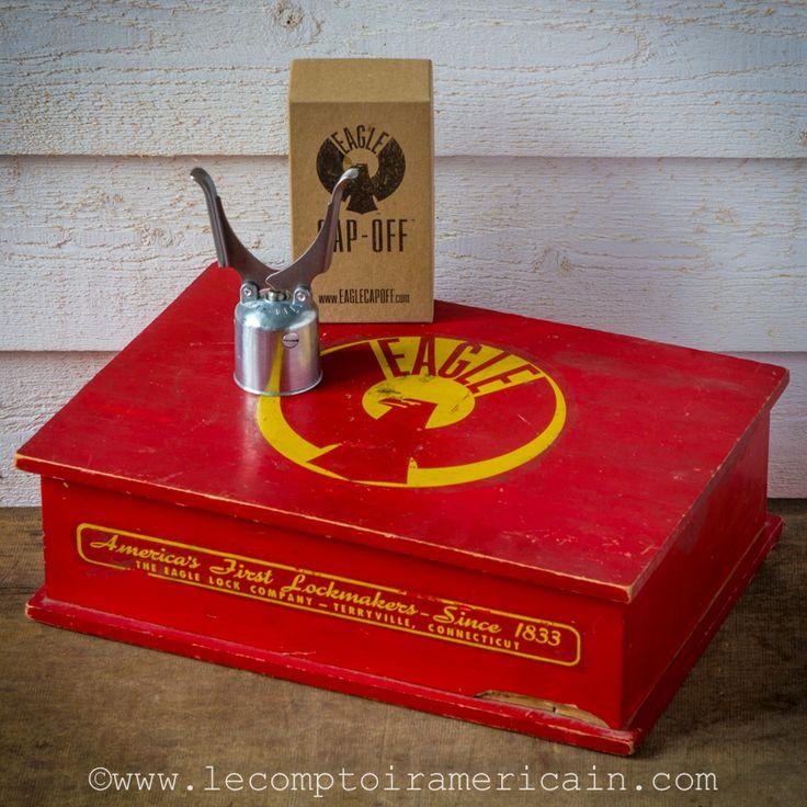 Eagle Cap OFF #EagleCapOff #madeinUSA #americandesign #americanmade #americanproduct #bottleopener #ouvrebouteille #automatique #automatic #Capoff #lecomptoiramericain #box #redbox #vintage #idéecadeau #cadeau #bière #soda #beer