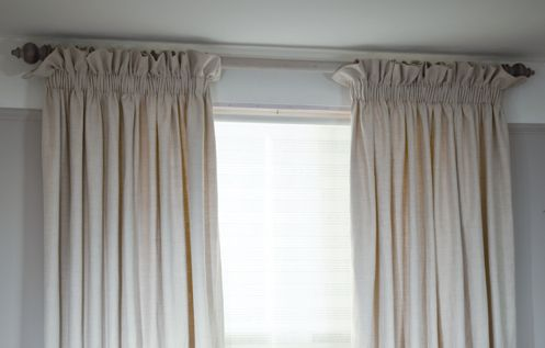 Detail Of Pencil Pleat Heading With Upstand Curtains And