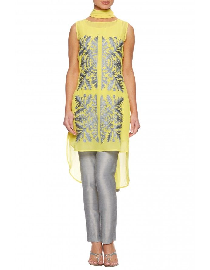 Yellow georgette tunic dress suit - As part of our Asian suit tunic dresses collection, an on trend shift tunic in stunning yellow with contrast grey embroidery and slim grey trousers and grey georgette stole.