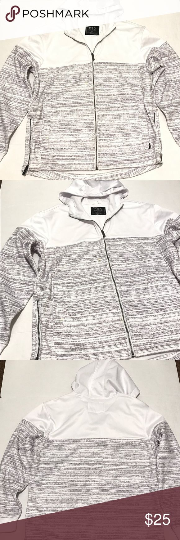 NEW CSG Champs Sports Gear zip up hoodie Sz LARGE New champs sports gear hooded zip up sweater size large. Has zippers on both sides and pocket for phone or MP3 player. It is missing the string for the hood. Material: 100% polyester champs sports gear Sweaters Zip Up