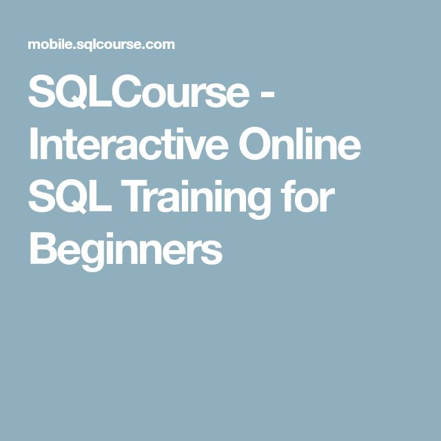 SQLCourse - Interactive Online SQL Training for Beginners
