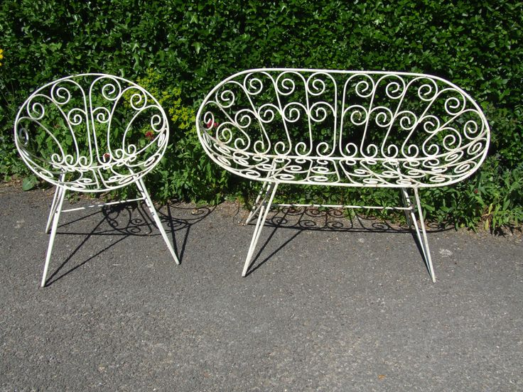 G174   Vintage French 1960u0027s Wrought Iron Garden Chair And Bench Set   La  Belle Étoffe