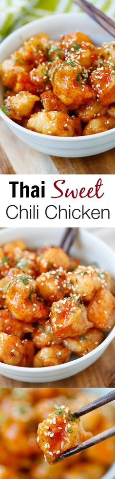 Thai Sweet Chili Chicken – amazing and best-ever chicken recipe with sticky, sweet and savory sweet chili sauce. SO good you will want to lick the plate!! | rasamalaysia.com