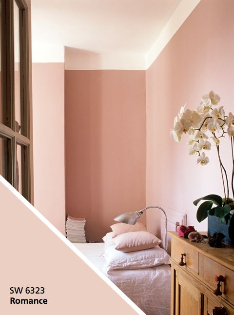 PAINT YOUR SPACE CALM Blush tones are a stylish alternative to traditional neutrals, and the pinkish hue is scientifically proven to induce a calming effect. Try Sherwin-Williams® Romance SW 6323, available in the Emerald® product line — a paint and primer in one (which means easy application) with stain-blocking technology to keep your walls looking their best for years.