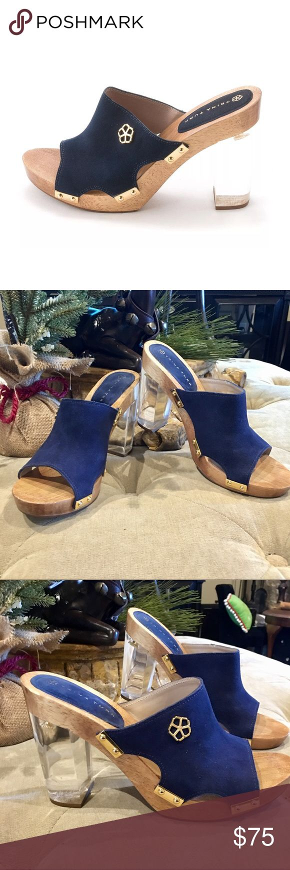 Trina Turk Palm Springs Lucite heel in Indigo 9M ❤❤Trina Turk Palm Springs Lucite heel. Size 9. Super cute shoe. One slight nick on toe of heel. Very slight. See second to last pic. Very minor scuffing on Lucite heel. Overall in great condition. ❤❤ Trina Turk Shoes Mules & Clogs