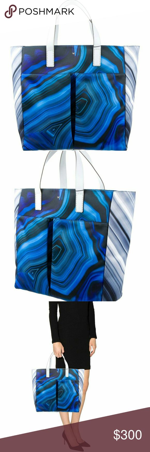 "Anya Hindmarch Nevis Satin Tote In perfect condition, stunning blue agate print with white leather trim.    14"" tall,  13.5"" wide, 4.5"" deep Anya Hindmarch Bags Totes"