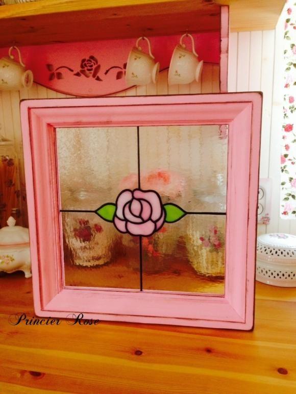 【受注製作】ステンドグラス 薔薇のパネル 30cm角 アンティークローズ