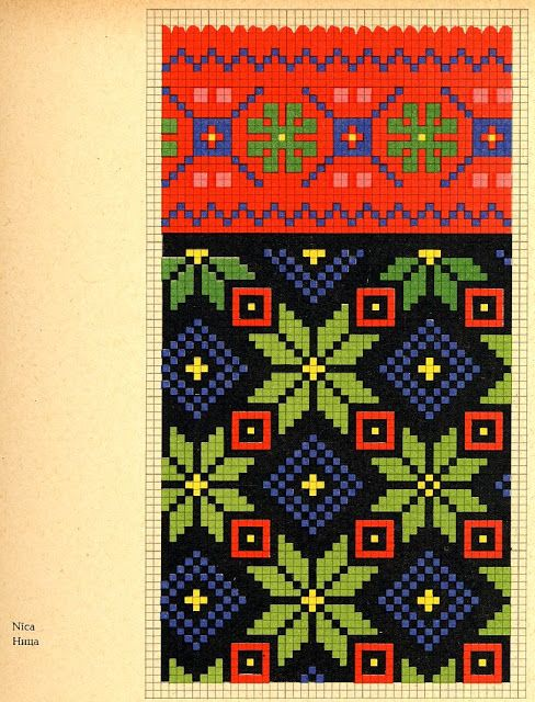 Knitted mittens pattern, Latvian traditional design