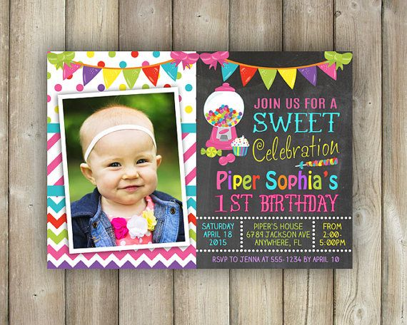 CANDYLAND BIRTHDAY INVITATION - Candyland Bday Invite - Sweet Celebration Invite - Chalkboard - Digital File - Printable