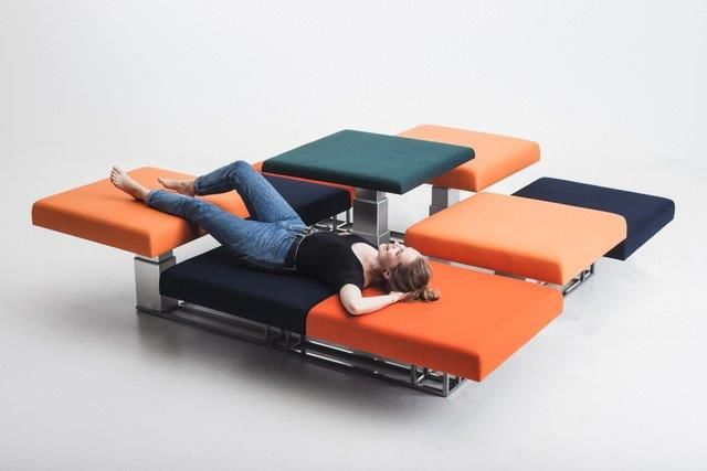 "The open-plan space generator ""Mushrooms"" is flexible, and the setup can change according to your wish. It can be used as spare bed, sofa, benches, as well as working and dining room table. It is designed by Annamiia Suominen."