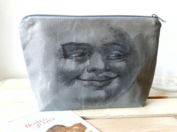 waxed canvas moon face dopp kitt cosmetics bag makeup bag